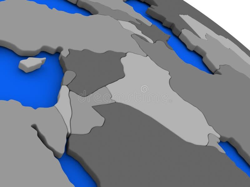在政治Eart的以色列、黎巴嫩、约旦、叙利亚和伊拉克地区 向量例证