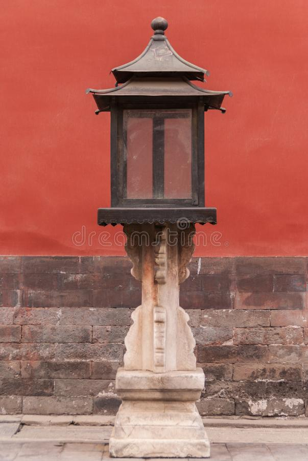 在故宫的古色古香的灯笼,北京 免版税库存图片
