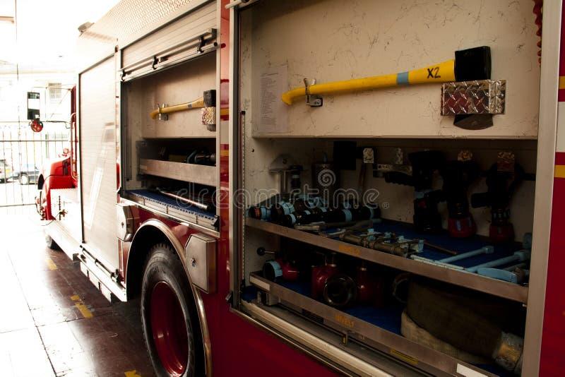 在救火车里面的工具 免版税库存照片
