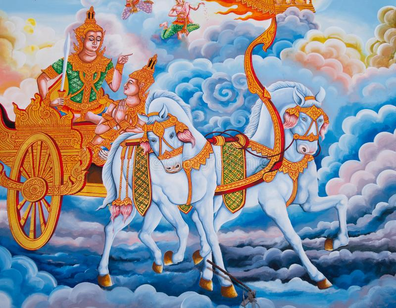 在教会墙壁上的绘画,泰国样式,墙壁上在泰国寺庙 免版税库存照片