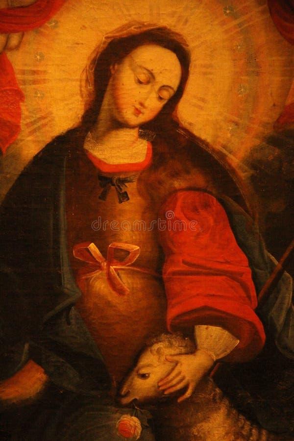 在教会的一张宗教绘画 免版税库存图片