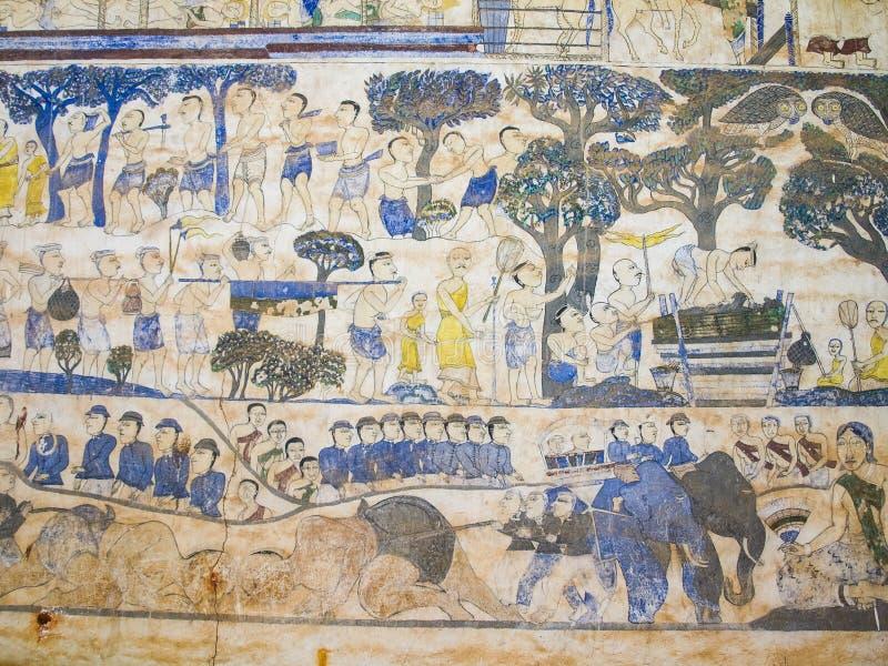 在教会的墙壁上的绘画寺庙的,故事abou 免版税库存照片