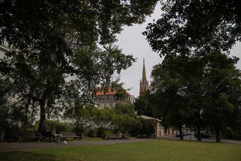 在教会的看法在里加,拉脱维亚 免版税库存图片