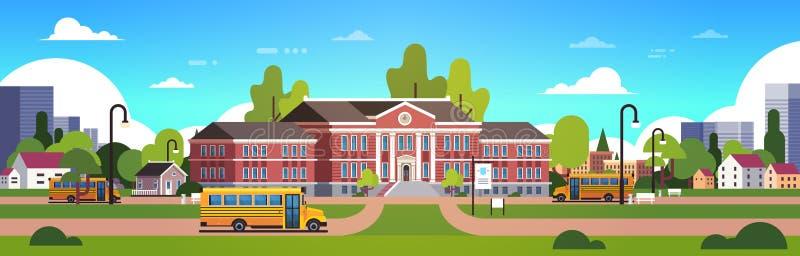 在教学楼围场学生前面的黄色公共汽车运输概念9月1日都市风景背景横幅舱内甲板 向量例证