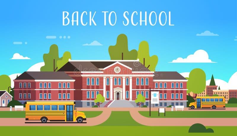 在教学楼外部学生前面的黄色公共汽车运输概念的9月1日平展水平 皇族释放例证