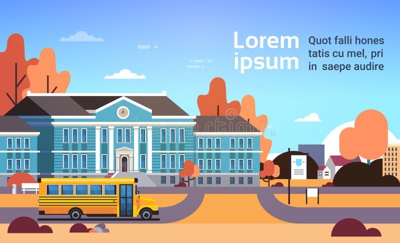 在教学楼学生前面的黄色公共汽车运输概念9月1日秋天平展水平都市风景的背景 库存例证