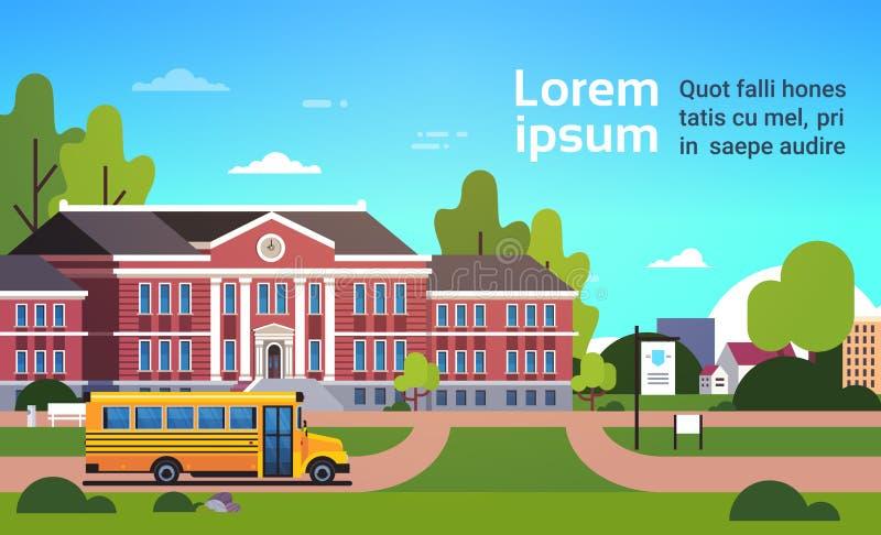 在教学楼学生前面的黄色公共汽车运输概念9月1日都市风景背景平的水平的拷贝 皇族释放例证