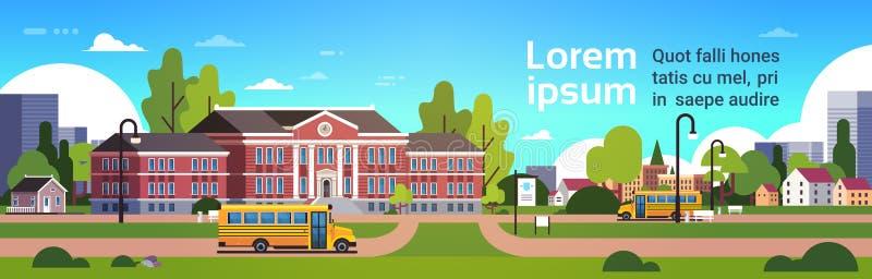 在教学楼学生前面的黄色公共汽车运输概念9月1日都市风景背景横幅平的拷贝空间 向量例证