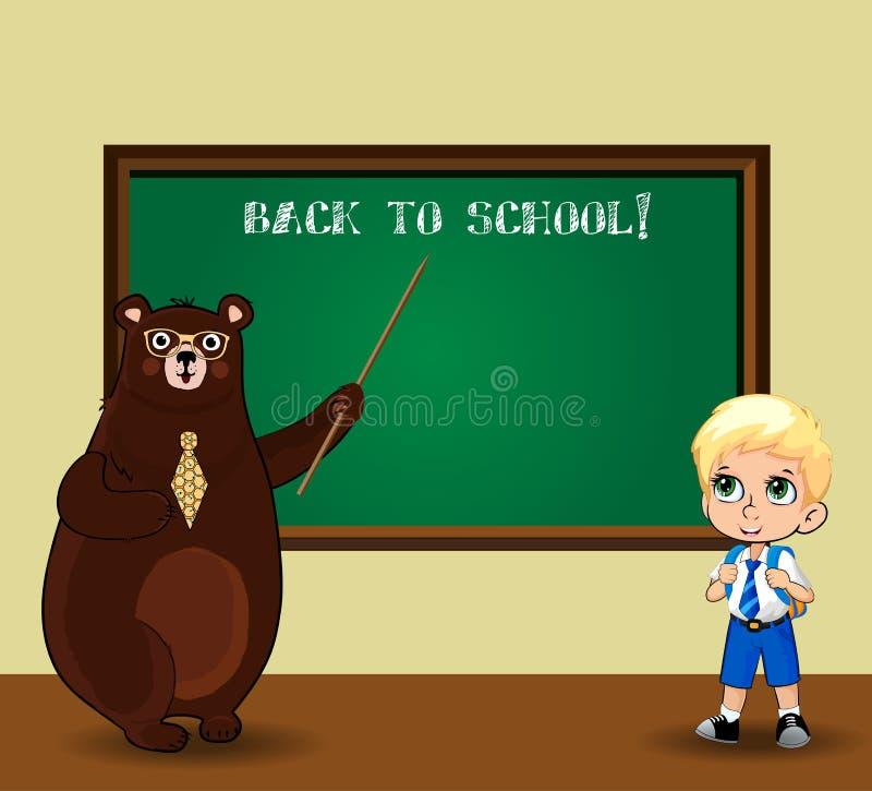 在教室负担老师和kawaii男小学生一致的近的黑板的 库存例证