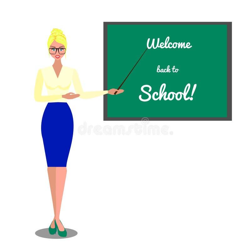 在教师附近的黑板 欢迎的回到学校 在白色背景的传染媒介平的例证 向量例证