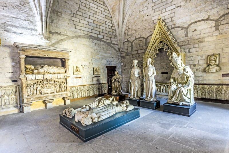 在教皇宫殿的北部圣器收藏室里面在阿维尼翁,法国 免版税库存图片