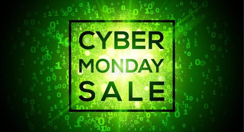 在数字二进制编码1和0数字绿色传染媒介背景的星期一网络销售在矩阵样式 向量例证
