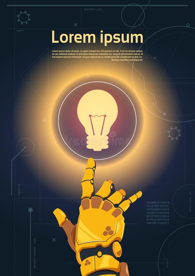 在数字式屏幕横幅的机器人手接触电灯泡按钮与拷贝空间 库存例证