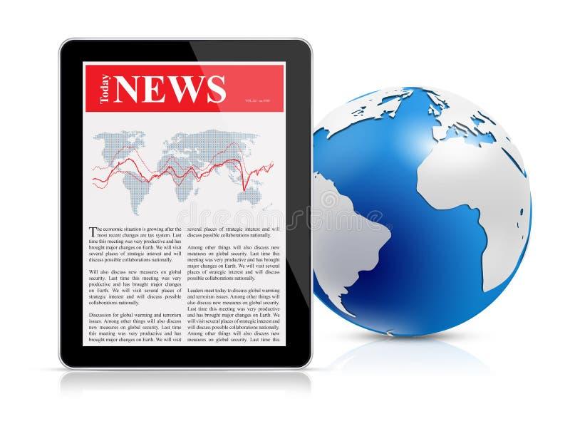 在数字式片剂和地球的新闻传递 皇族释放例证