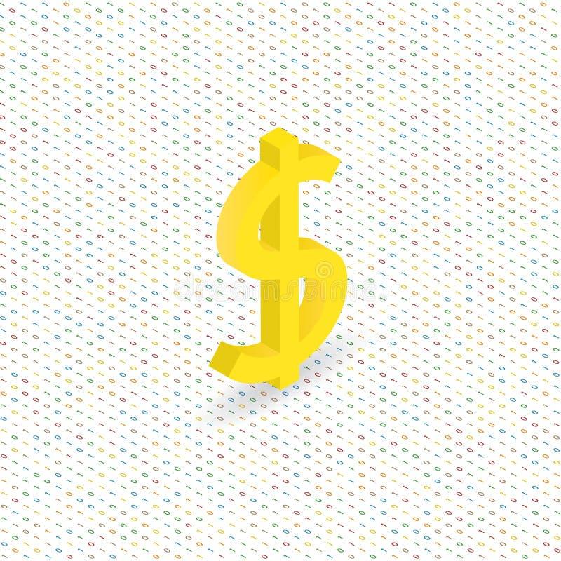 在数字式背景的美元的符号 库存例证