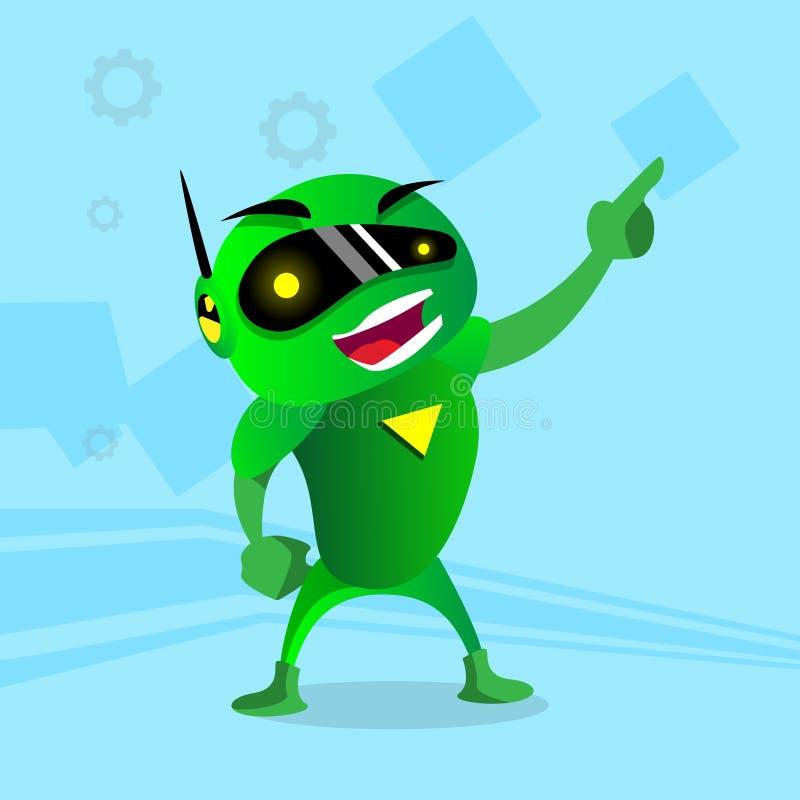 在数字式玻璃点手指的绿色机器人手 库存例证
