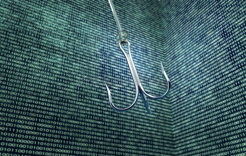 在数字式enviromen的Phising数字式安全概念钓鱼钩 库存例证