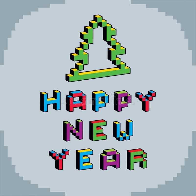 在数字技术样式创造的新年快乐词组, vecto 向量例证