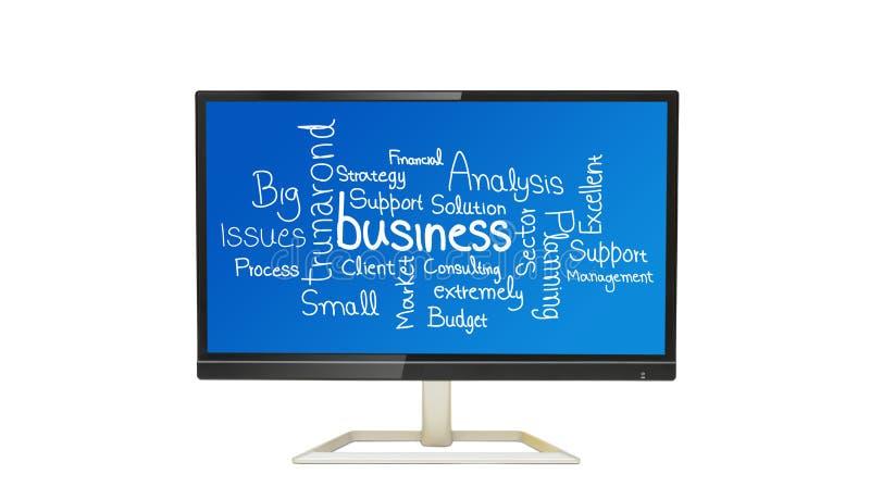 在数字显示白色背景的与生意相关的词拼贴画 库存照片