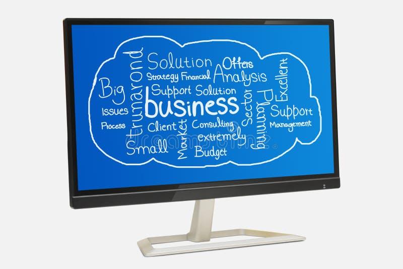 在数字显示白色背景的与生意相关的词拼贴画 免版税库存图片