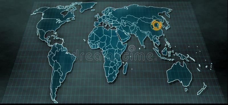 在数字显示的未来派世界地图与在北京的聚焦 免版税库存照片