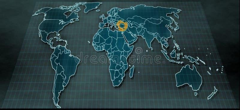 在数字显示的未来派世界地图与在土耳其的聚焦 免版税库存照片