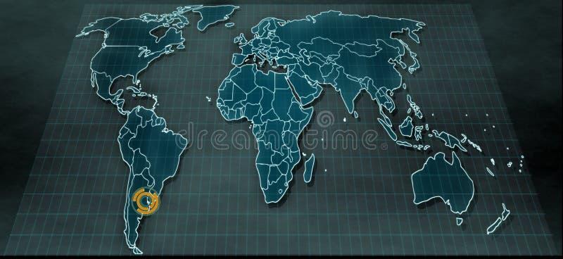 在数字显示的未来派世界地图与在布宜诺斯艾利斯的聚焦 免版税库存照片
