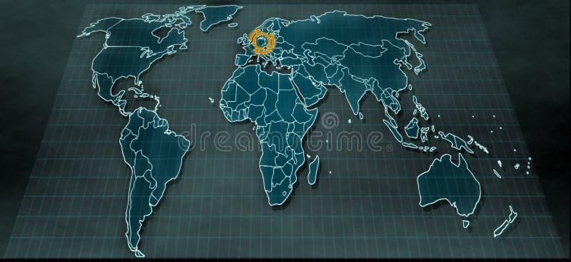 在数字显示的未来派世界地图与在柏林的聚焦 图库摄影