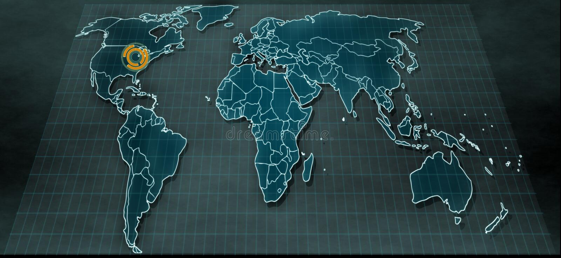 在数字显示的未来派世界地图与在芝加哥的聚焦 免版税库存图片