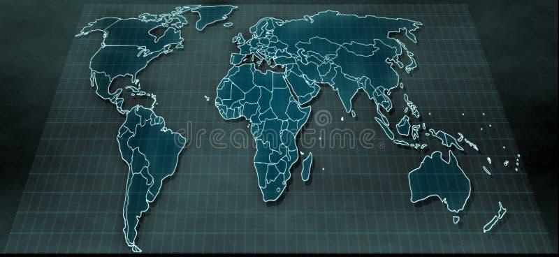 在数字显示的未来派世界地图 库存照片