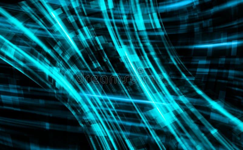 在数字线路世界,与栅格,3d的电脑技术背景里面的抽象回报背景,计算机 向量例证
