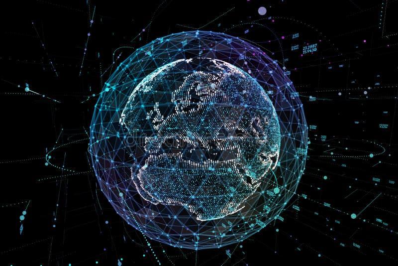 在数字网的通信 接地地球 3d例证 库存例证