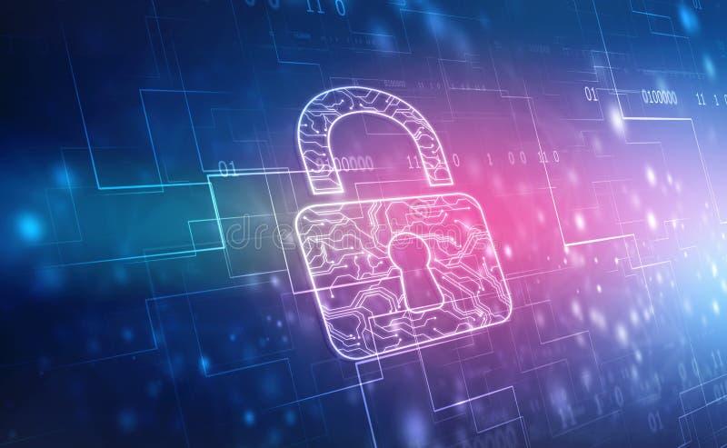 在数字背景、网络安全和互联网安全的被关闭的挂锁 向量例证