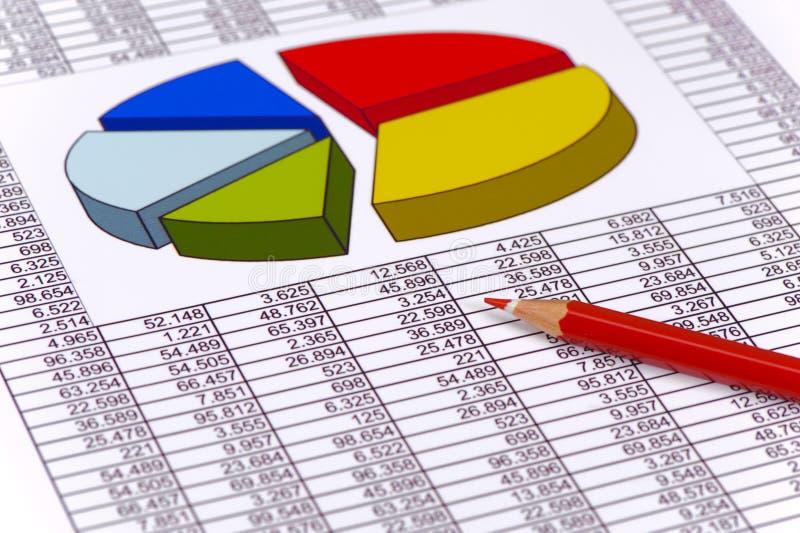 在数据桌上的财政图  库存照片
