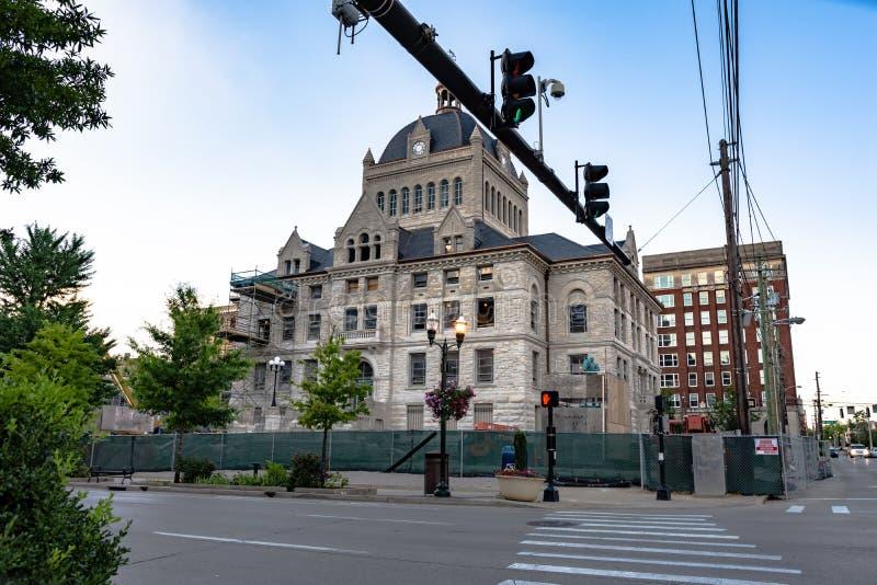 在整修下的历史的列克星敦法院大楼 免版税库存图片