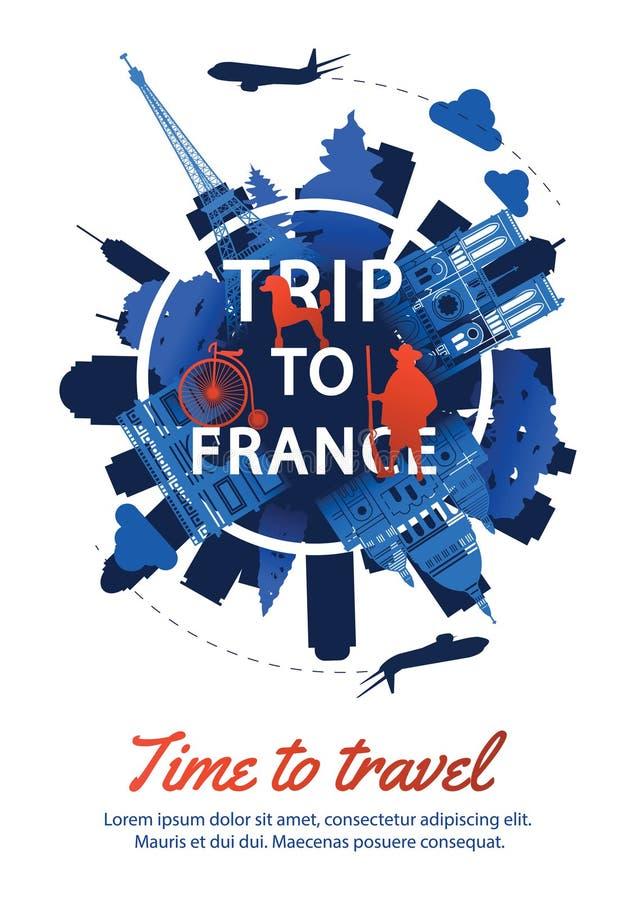 在文本附近的法国上面著名地标剪影样式,全国 向量例证