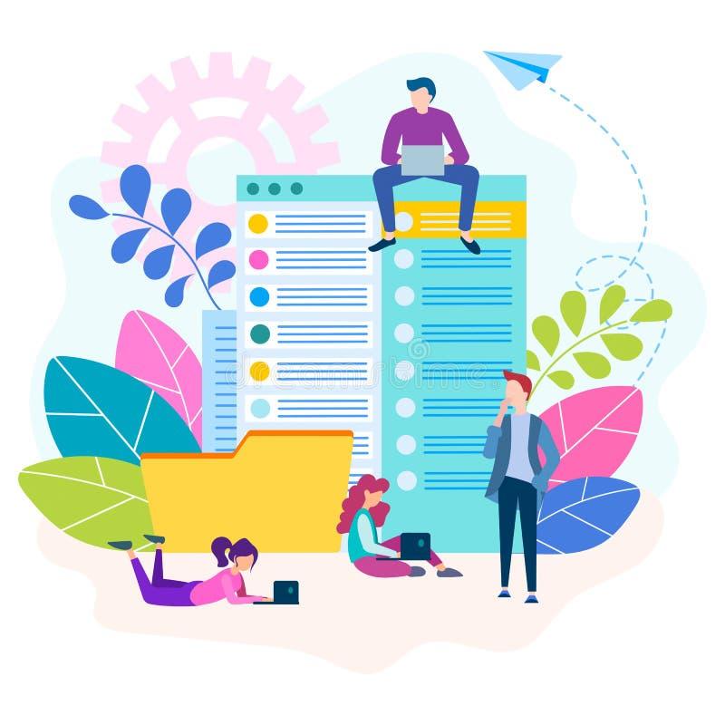 在文献的团队工作在概念办公室 库存例证