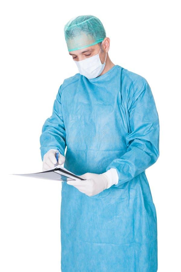 在文件夹的褂子医生运转中文字 免版税库存照片