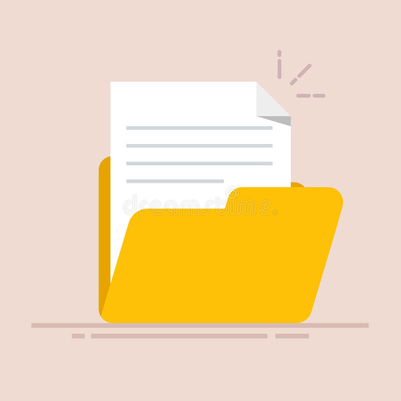 在文件夹象的文件 与抽象文本的纸板料 在颜色背景隔绝的平的例证 向量例证