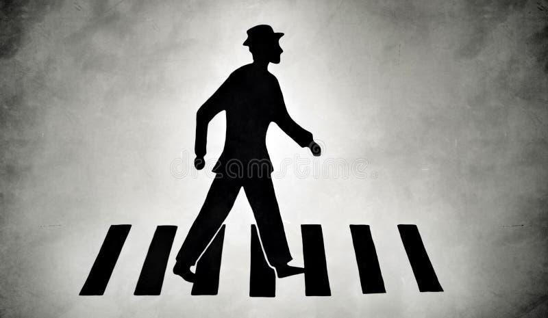 在斑马线街道上的风格化步行者 皇族释放例证