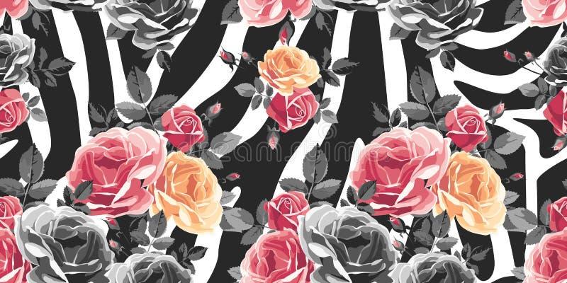 在斑马背景的玫瑰无缝的样式 动物抽象印刷品 库存例证