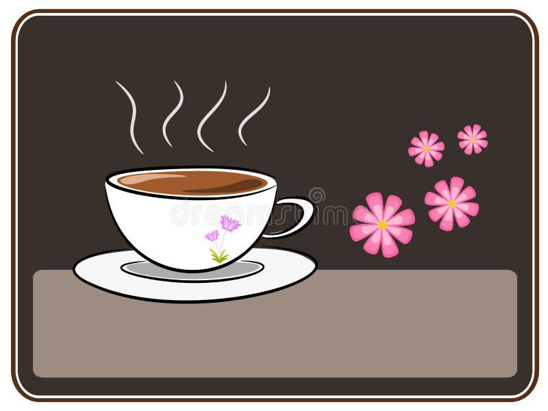 咖啡和花例证 向量例证