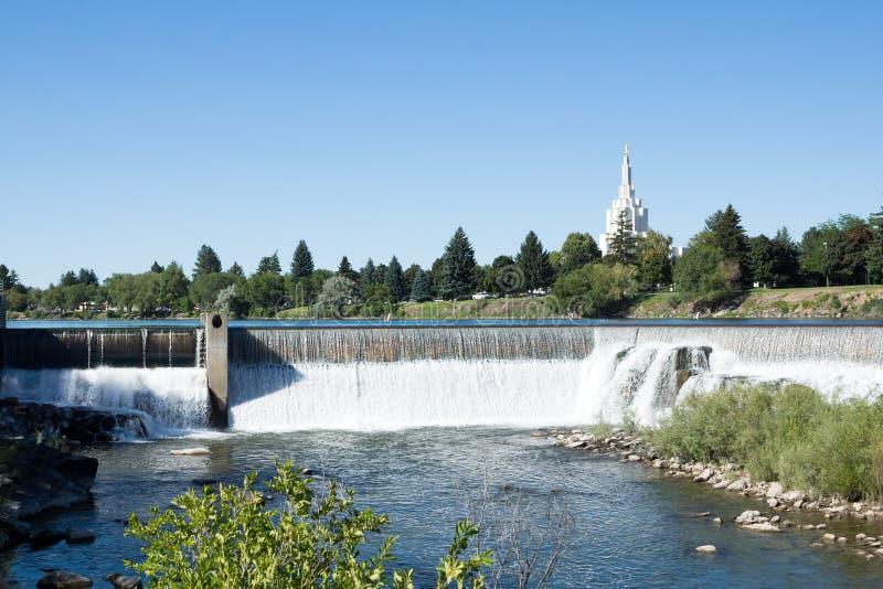 在斯内克河的瀑布在中心城市爱达荷落 图库摄影