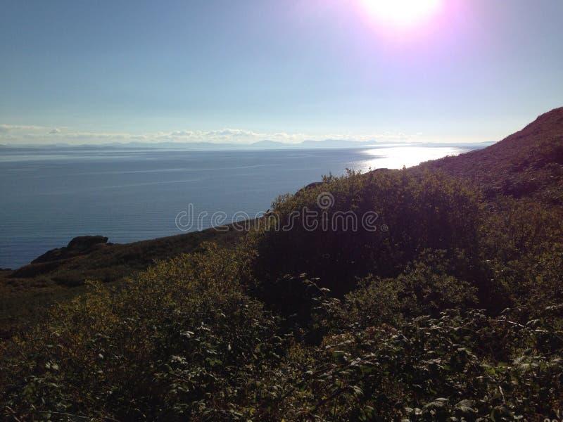 在斯凯岛小岛的日落  库存照片