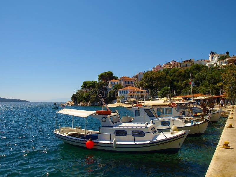 在斯基亚索斯岛镇,希腊港口停住的小渔船  免版税库存图片