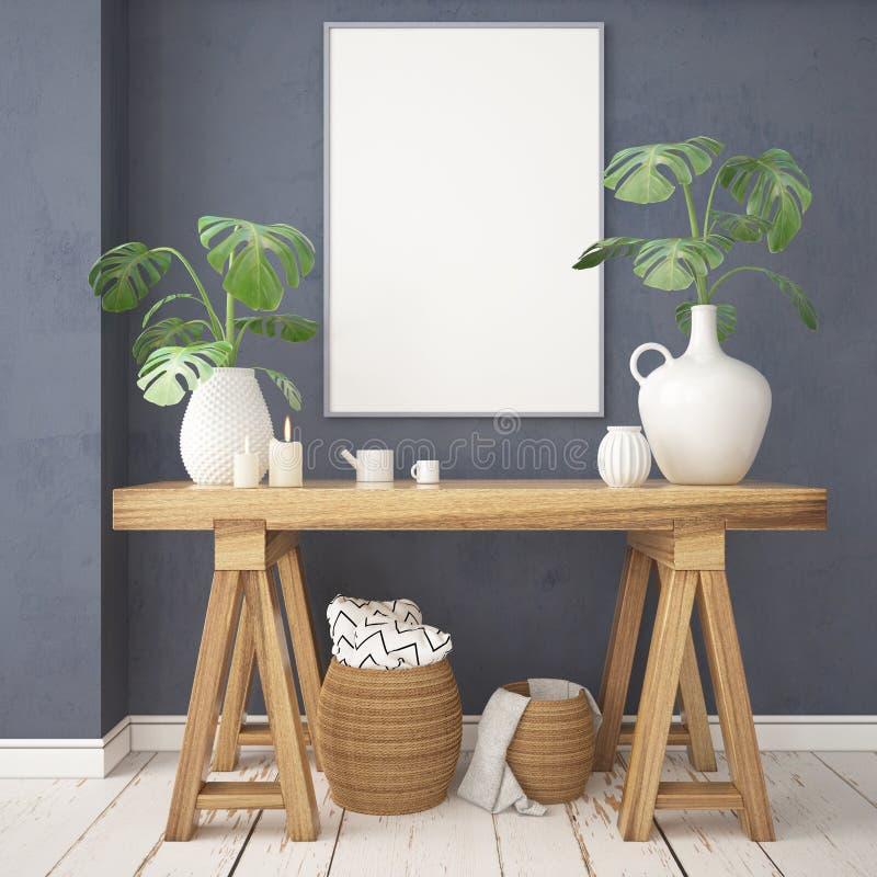在斯堪的纳维亚内部的大模型海报与在lagom样式的一张嵌墙桌子 向量例证