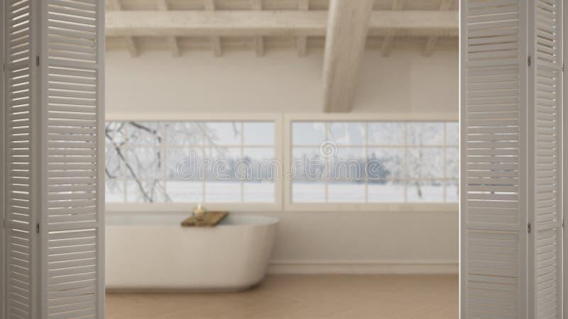在斯堪的纳维亚卫生间,有浴缸的,白色室内设计,建筑师设计师概念,迷离顶楼的白色折叠门开头 免版税库存图片