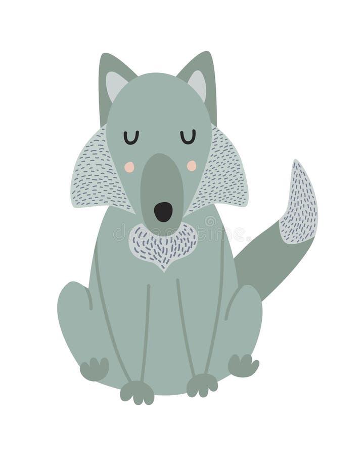 在斯堪的纳维亚和民间样式的逗人喜爱的灰狼 库存例证