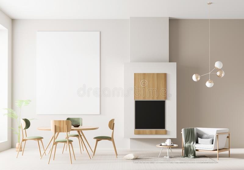 在斯堪的纳维亚样式的假装海报框架内部与壁炉和饭桌 最低纲领派室内设计 3d例证 库存照片