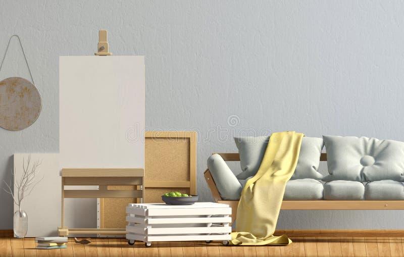 在斯堪的纳维亚样式的现代室内设计与沙发和画架 皇族释放例证